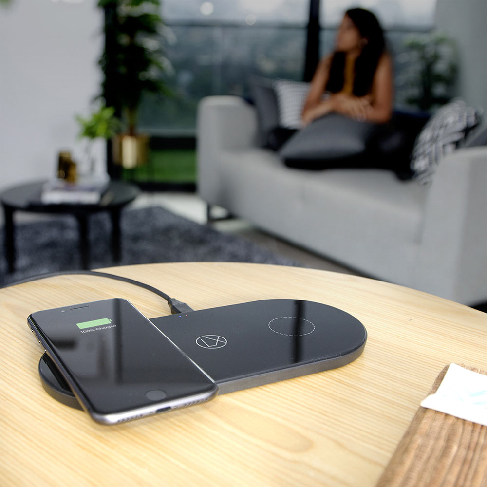 lxory dual wireless charger black US plug