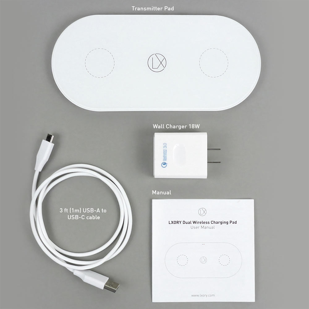 two phones wireless charger white